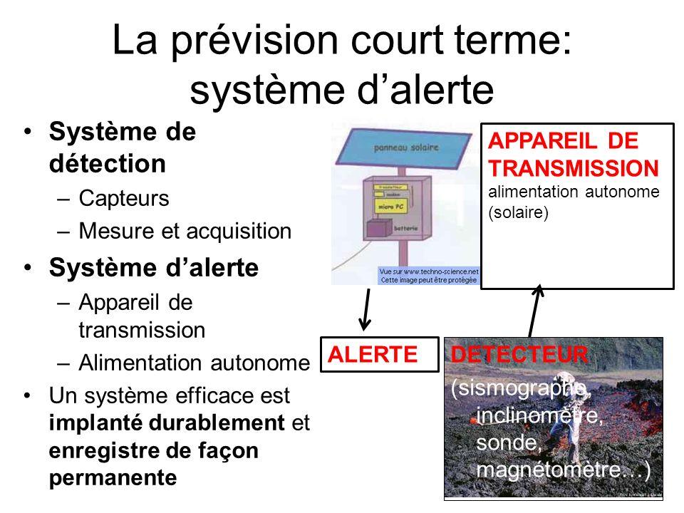 La prévision court terme: système dalerte Système de détection –Capteurs –Mesure et acquisition Système dalerte –Appareil de transmission –Alimentatio