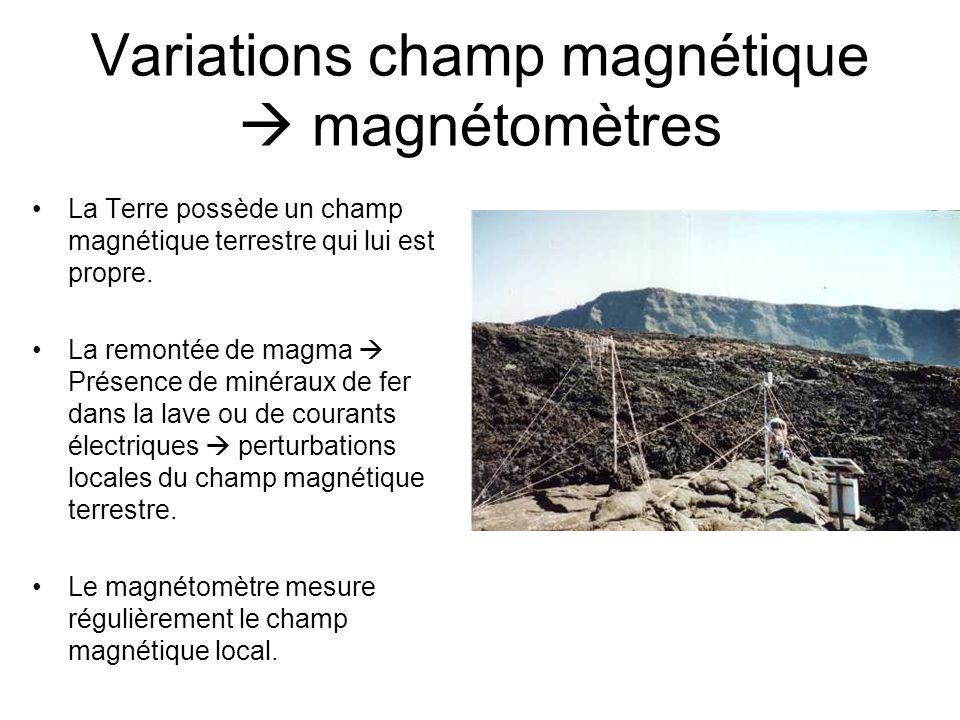 Variations champ magnétique magnétomètres La Terre possède un champ magnétique terrestre qui lui est propre. La remontée de magma Présence de minéraux