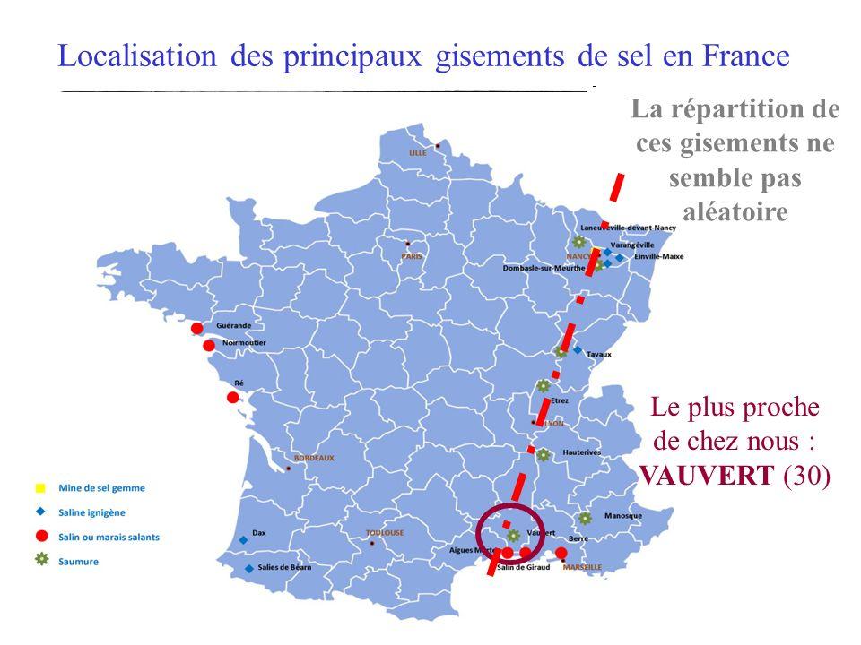 Localisation des principaux gisements de sel en France La répartition de ces gisements ne semble pas aléatoire Le plus proche de chez nous : VAUVERT (