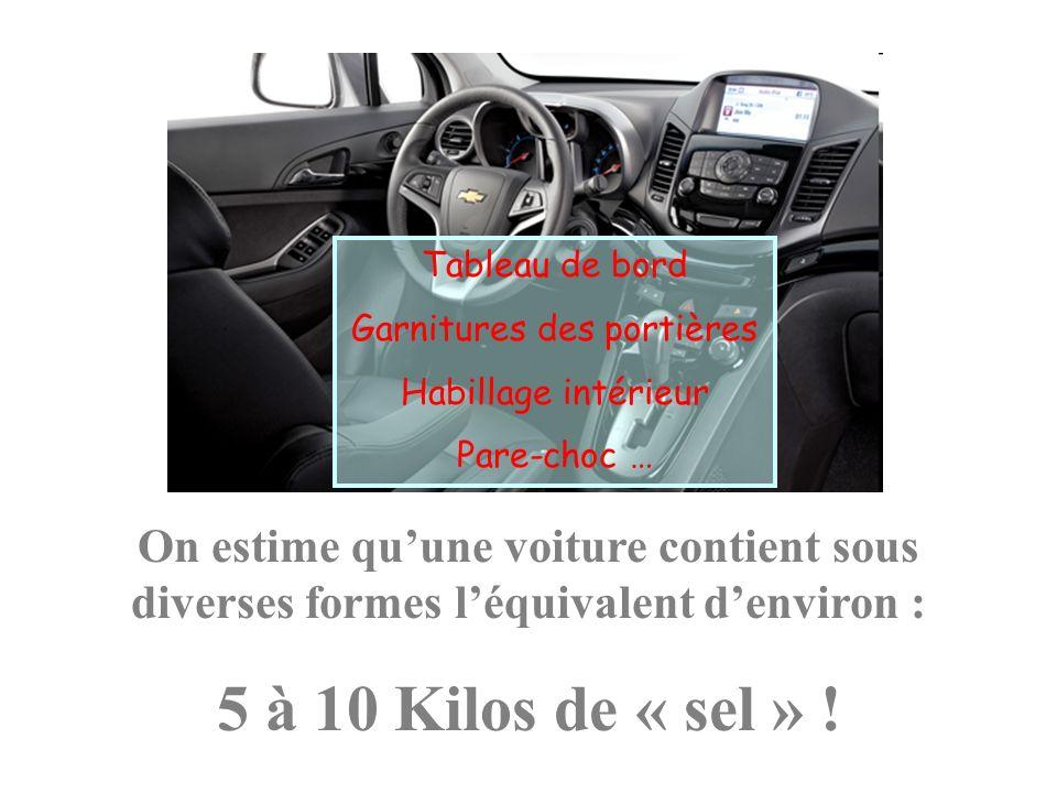 On estime quune voiture contient sous diverses formes léquivalent denviron : 5 à 10 Kilos de « sel » ! Tableau de bord Garnitures des portières Habill