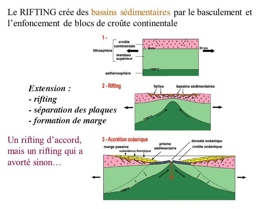 Le RIFTING crée des bassins sédimentaires par le basculement et lenfoncement de blocs de croûte continentale Un rifting daccord, mais un rifting qui a