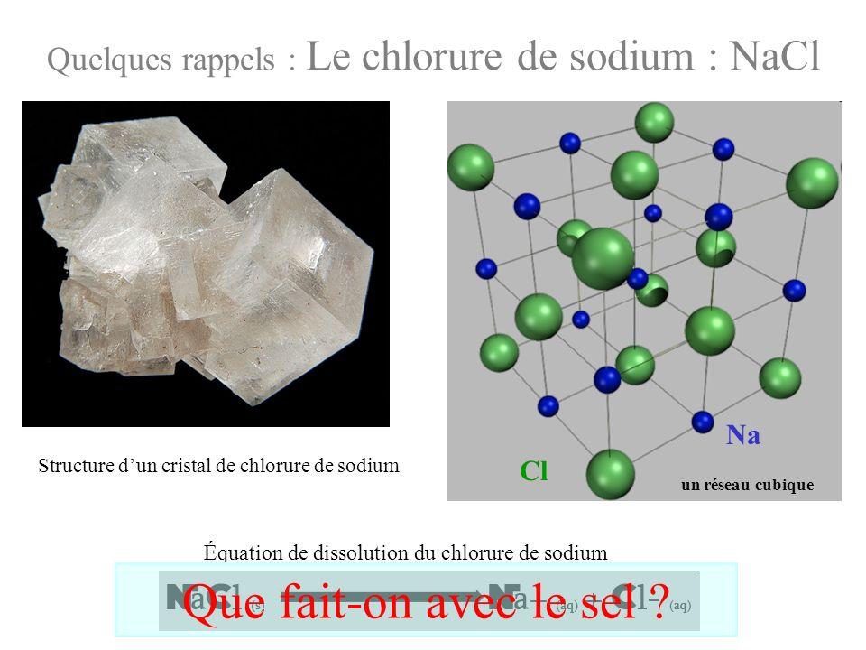 Quelques rappels : Le chlorure de sodium : NaCl Na Cl Structure dun cristal de chlorure de sodium Équation de dissolution du chlorure de sodium Que fa
