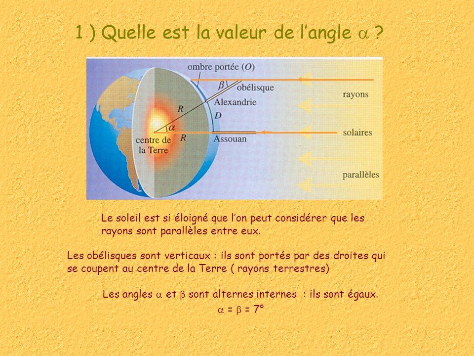 1 ) Quelle est la valeur de langle ? Le soleil est si éloigné que lon peut considérer que les rayons sont parallèles entre eux. Les angles et sont alt