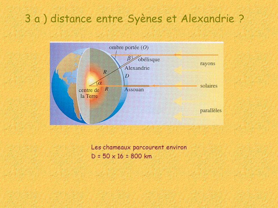 3 a ) distance entre Syènes et Alexandrie ? Les chameaux parcourent environ D = 50 x 16 = 800 km