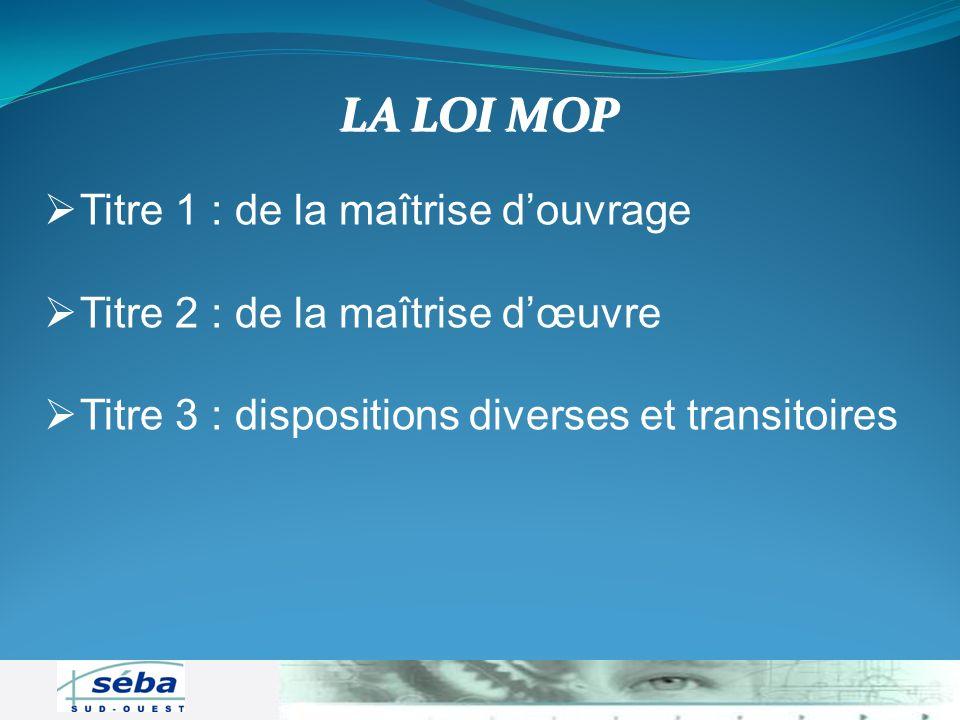 Titre 1 : de la maîtrise douvrage Titre 2 : de la maîtrise dœuvre Titre 3 : dispositions diverses et transitoires LA LOI MOP