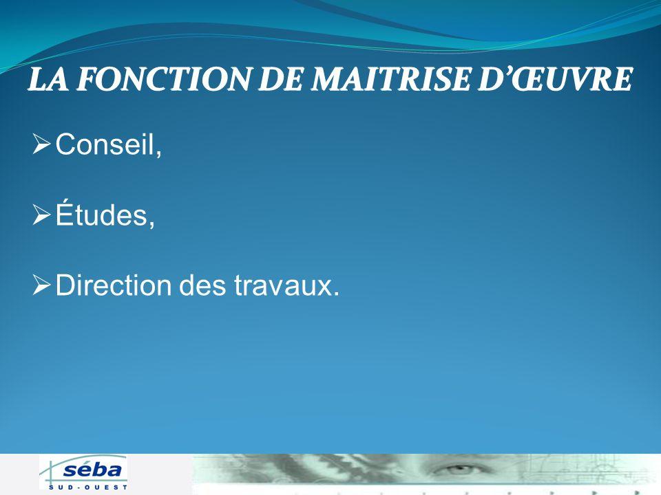 Conseil, Études, Direction des travaux. LA FONCTION DE MAITRISE DŒUVRE