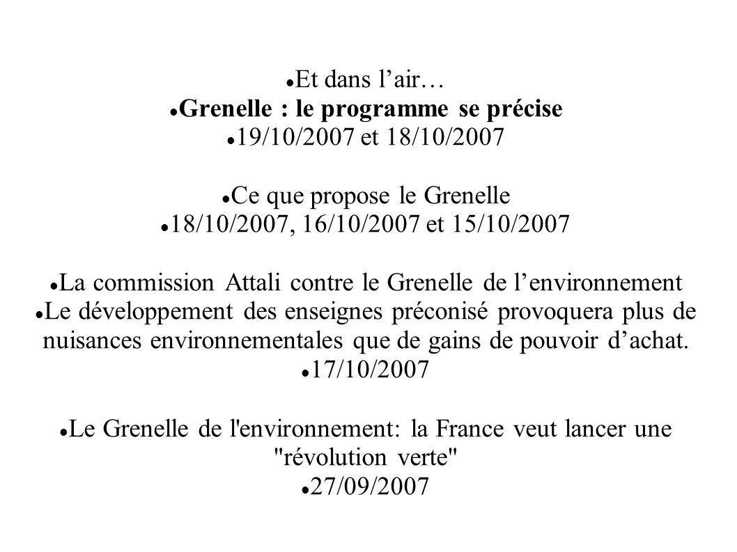 Et dans lair… Grenelle : le programme se précise 19/10/2007 et 18/10/2007 Ce que propose le Grenelle 18/10/2007, 16/10/2007 et 15/10/2007 La commissio