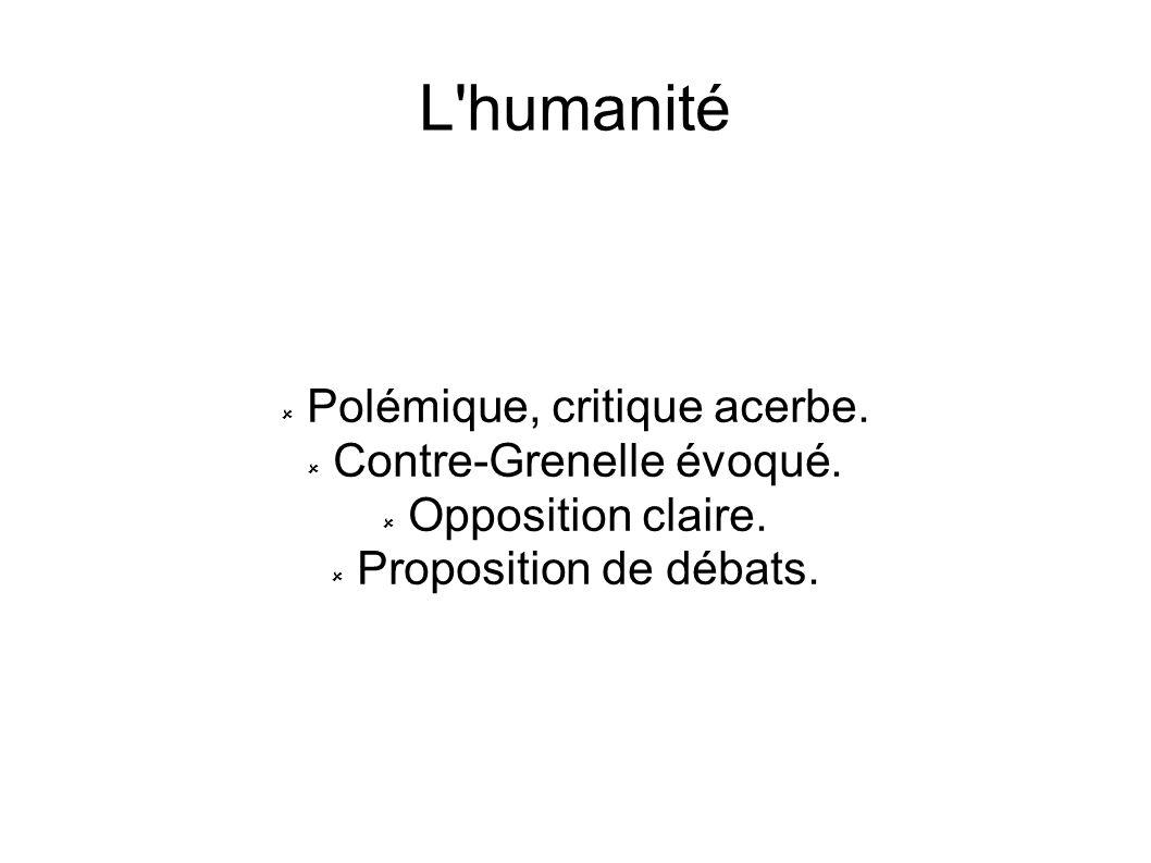 L'humanité Polémique, critique acerbe. Contre-Grenelle évoqué. Opposition claire. Proposition de débats.