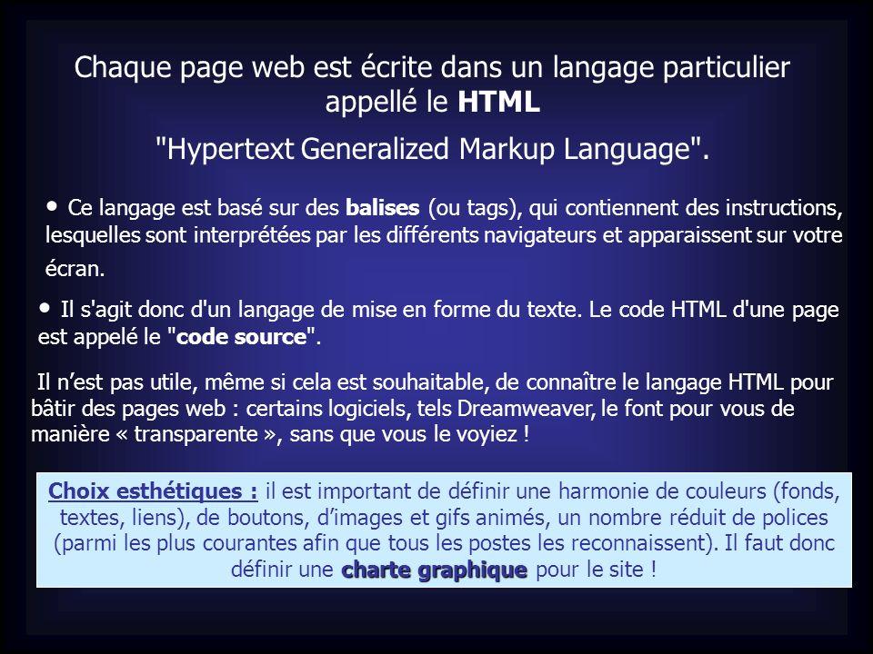 Chaque page web est écrite dans un langage particulier appellé le HTML