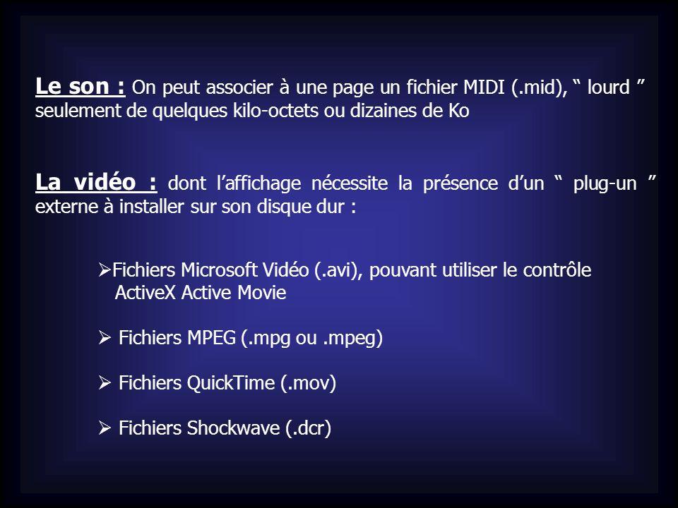 Le son : On peut associer à une page un fichier MIDI (.mid), lourd seulement de quelques kilo-octets ou dizaines de Ko La vidéo : dont laffichage néce