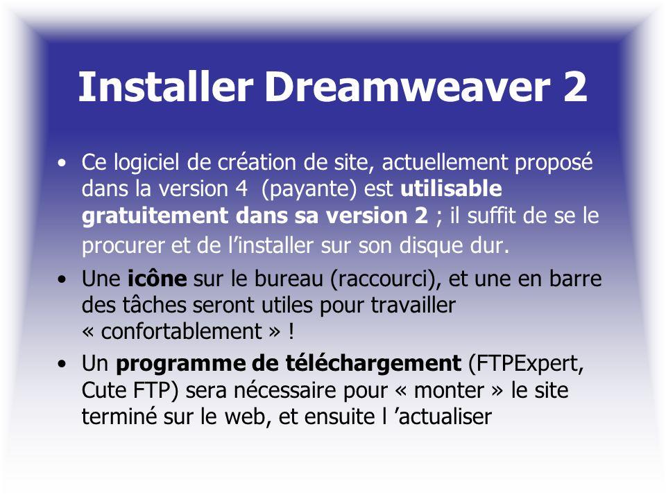 Installer Dreamweaver 2 Ce logiciel de création de site, actuellement proposé dans la version 4 (payante) est utilisable gratuitement dans sa version