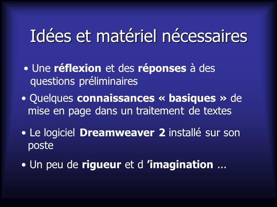 Idées et matériel nécessaires Une réflexion et des réponses à des questions préliminaires Quelques connaissances « basiques » de mise en page dans un