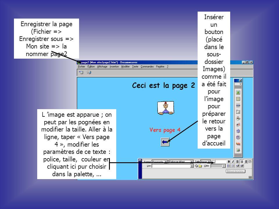 Enregistrer la page (Fichier => Enregistrer sous => Mon site => la nommer page2 L image est apparue ; on peut par les pognées en modifier la taille. A