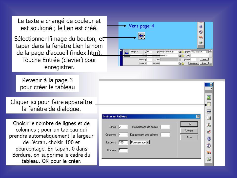 Le texte a changé de couleur et est souligné ; le lien est créé. Sélectionner limage du bouton, et taper dans la fenêtre Lien le nom de la page daccue