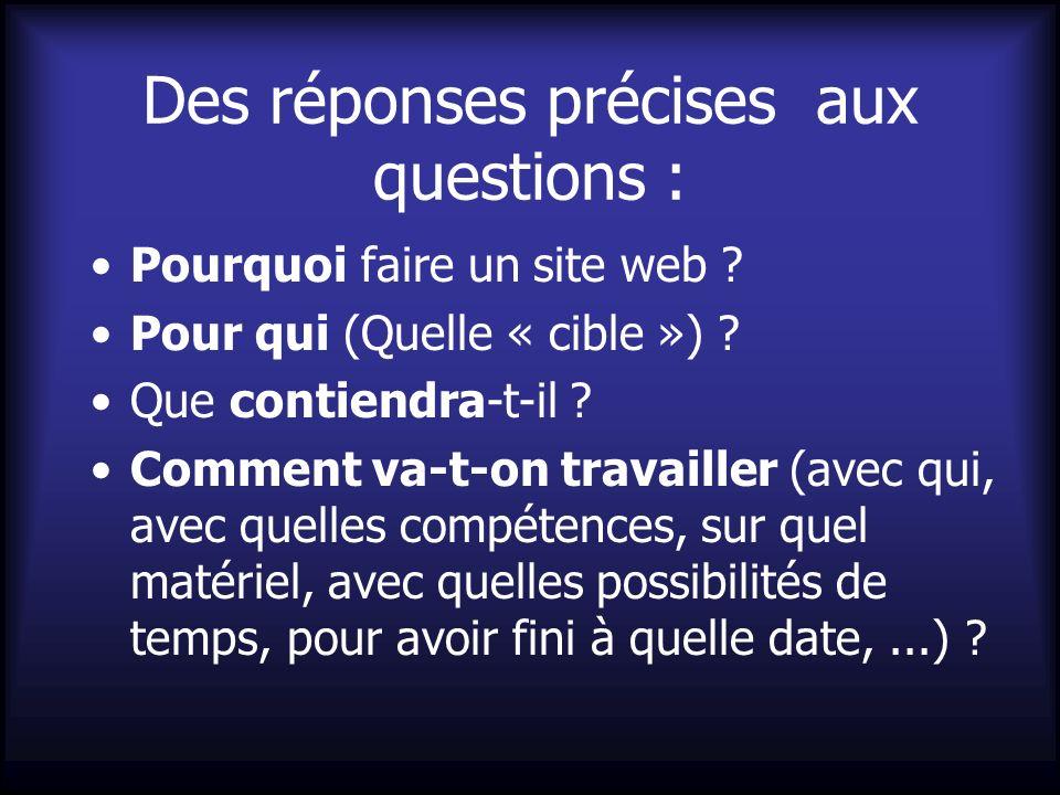 Des réponses précises aux questions : Pourquoi faire un site web ? Pour qui (Quelle « cible ») ? Que contiendra-t-il ? Comment va-t-on travailler (ave