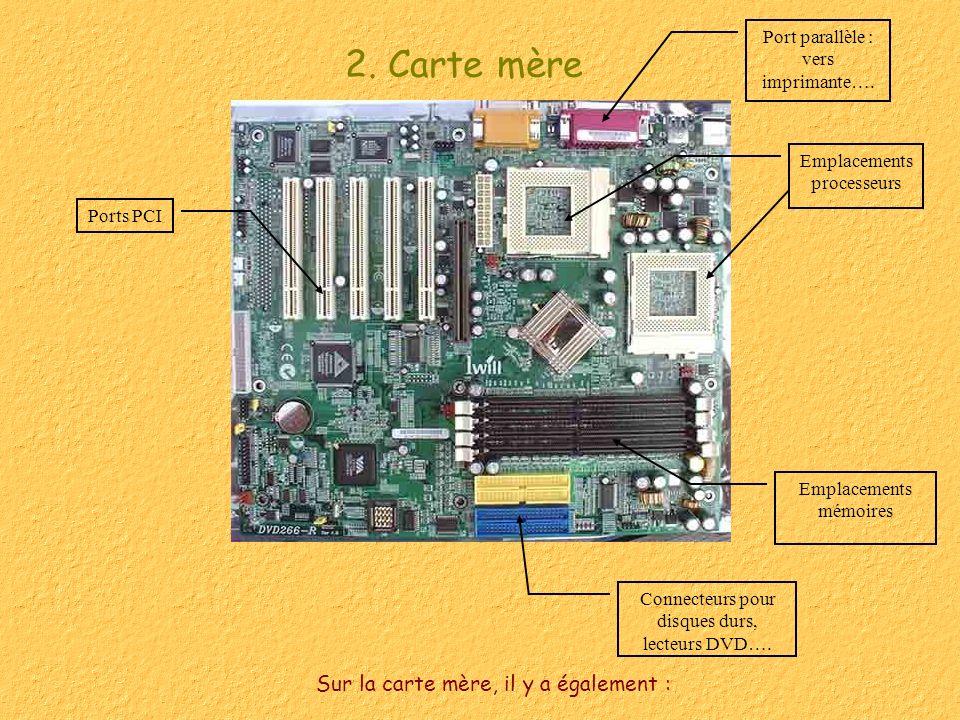2. Carte mère Sur la carte mère, il y a également : Emplacements processeurs Ports PCI Emplacements mémoires Connecteurs pour disques durs, lecteurs D