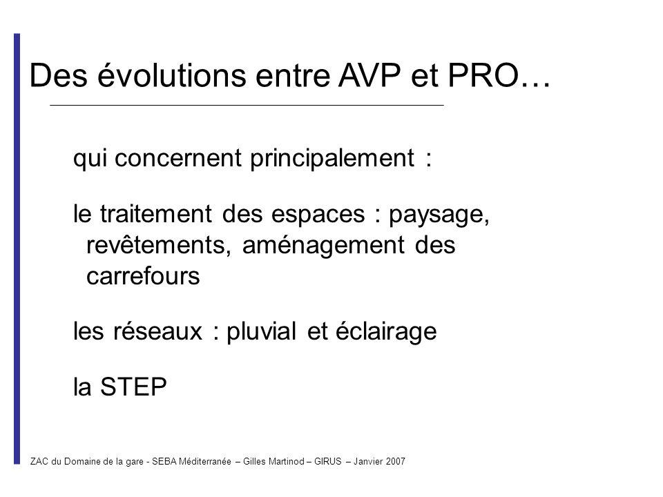 Des évolutions entre AVP et PRO… qui concernent principalement : le traitement des espaces : paysage, revêtements, aménagement des carrefours les rése