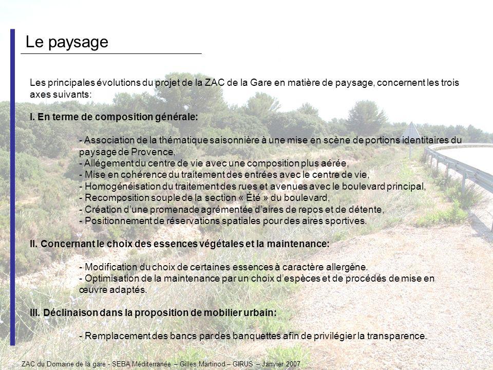 Le paysage Les principales évolutions du projet de la ZAC de la Gare en matière de paysage, concernent les trois axes suivants: I. En terme de composi