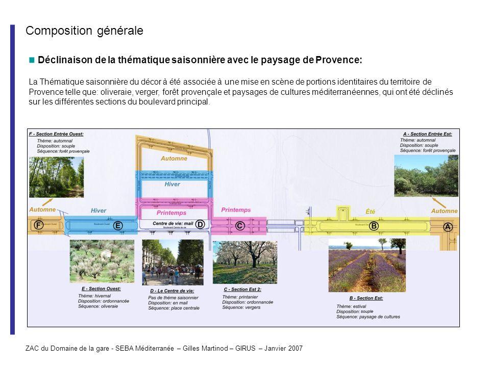 Composition générale Déclinaison de la thématique saisonnière avec le paysage de Provence: La Thématique saisonnière du décor à été associée à une mis