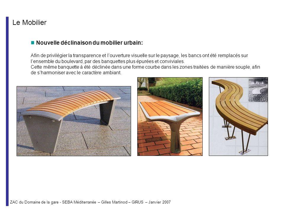 Le Mobilier Nouvelle déclinaison du mobilier urbain: Afin de privilégier la transparence et louverture visuelle sur le paysage, les bancs ont été remp