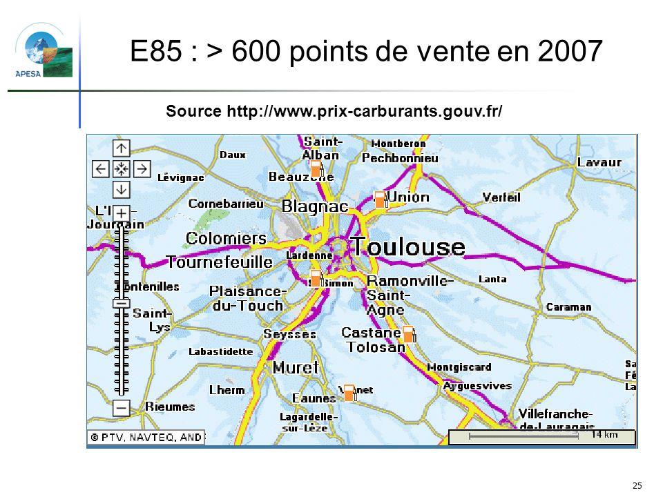 25 Source http://www.prix-carburants.gouv.fr/ E85 : > 600 points de vente en 2007
