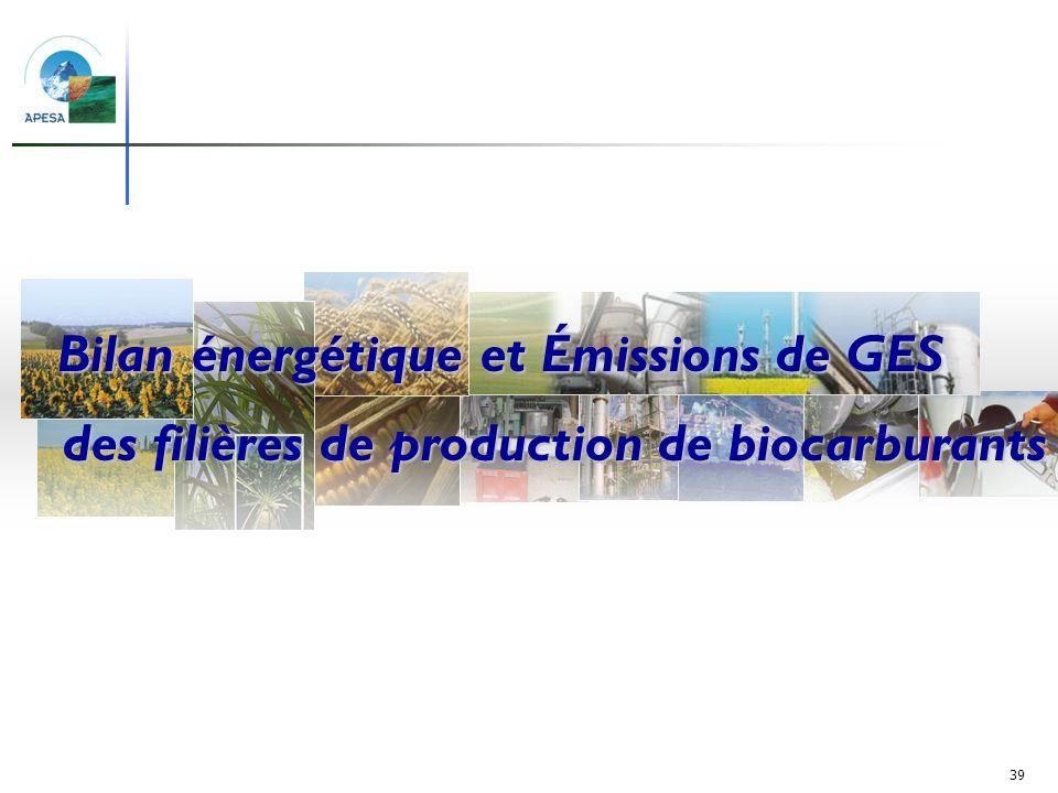 39 Production de biocarburants et surfaces agricoles Bilan énergétique et Émissions de GES des filières de production de biocarburants