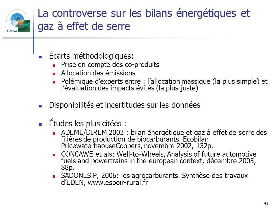 41 La controverse sur les bilans énergétiques et gaz à effet de serre Écarts méthodologiques: Prise en compte des co-produits Allocation des émissions