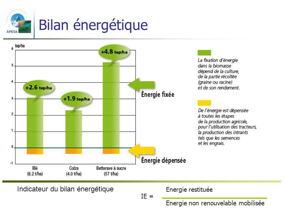 42 Bilan énergétique Energie restituée IE = Energie non renouvelable mobilisée Indicateur du bilan énergétique