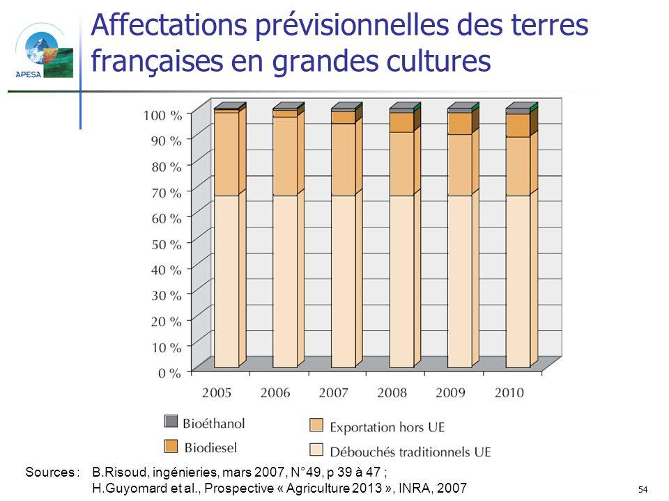 54 Affectations prévisionnelles des terres françaises en grandes cultures Sources : B.Risoud, ingénieries, mars 2007, N°49, p 39 à 47 ; H.Guyomard et