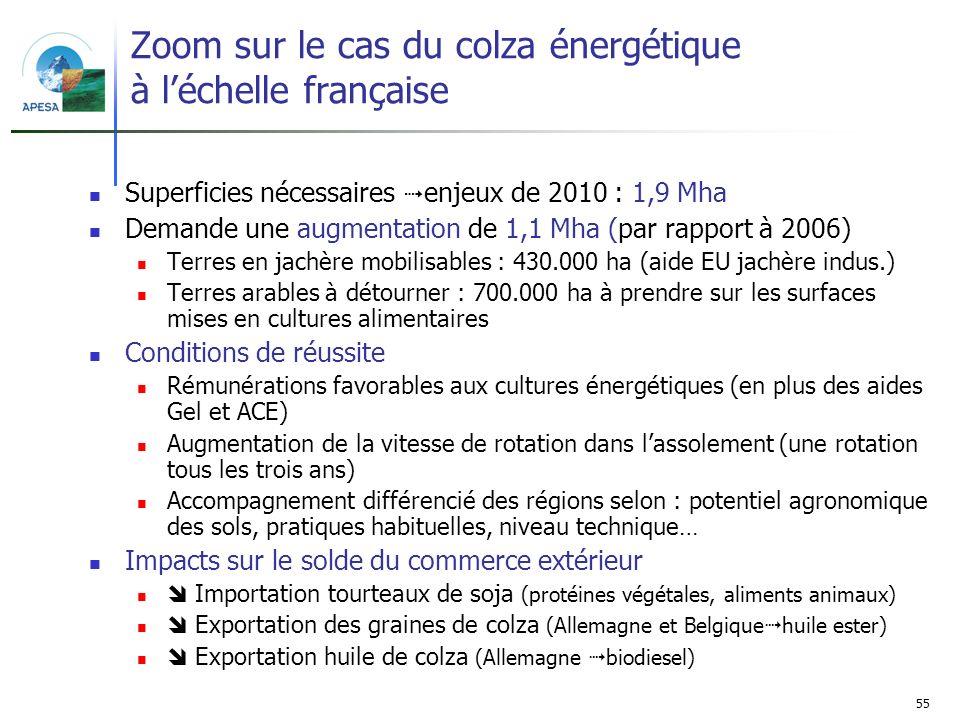 55 Zoom sur le cas du colza énergétique à léchelle française Superficies nécessaires enjeux de 2010 : 1,9 Mha Demande une augmentation de 1,1 Mha (par