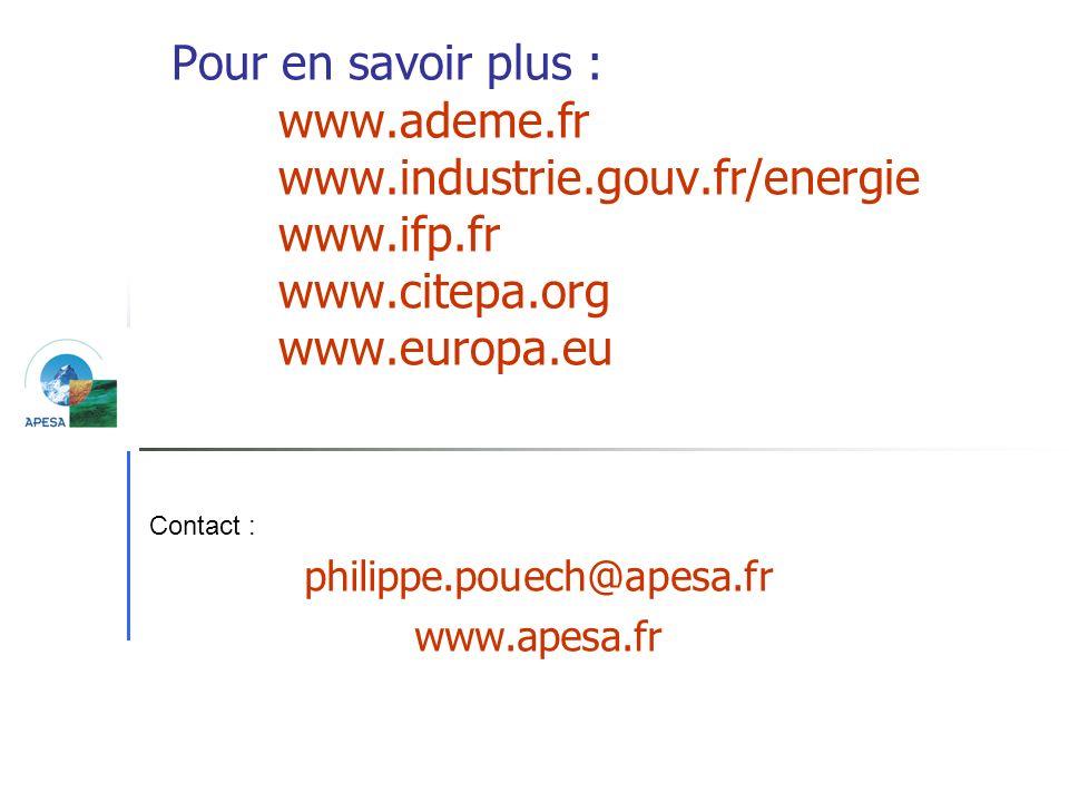 Pour en savoir plus : www.ademe.fr www.industrie.gouv.fr/energie www.ifp.fr www.citepa.org www.europa.eu philippe.pouech@apesa.fr www.apesa.fr Contact