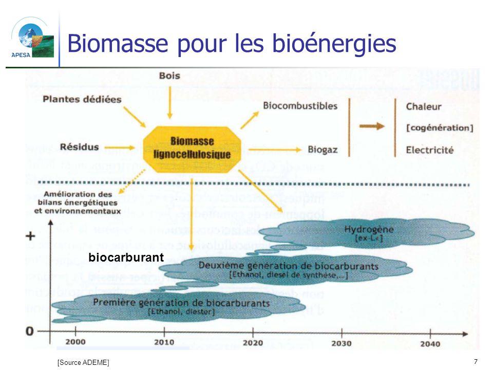 7 Biomasse pour les bioénergies biocarburant [Source ADEME]