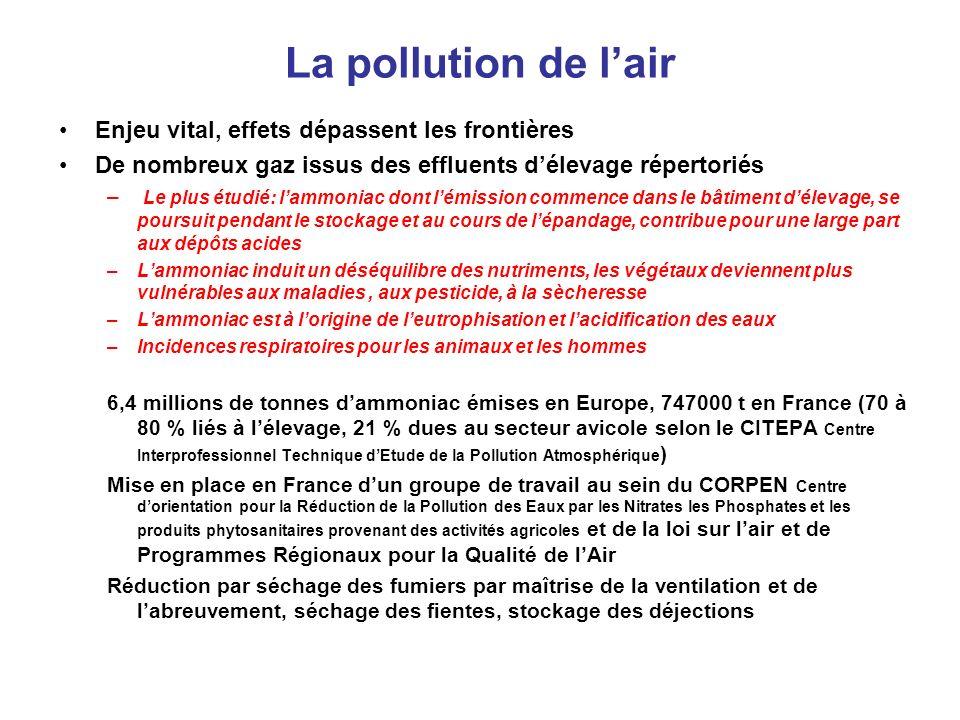 La pollution de lair Enjeu vital, effets dépassent les frontières De nombreux gaz issus des effluents délevage répertoriés – Le plus étudié: lammoniac