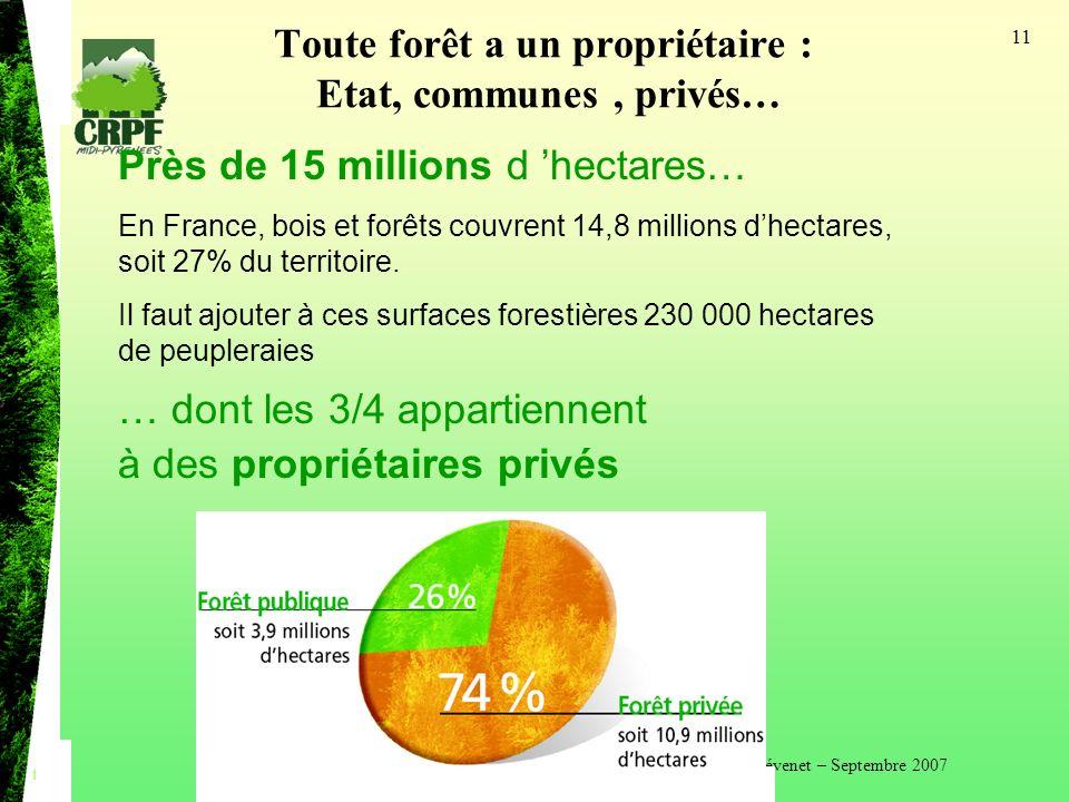 Philippe Thévenet – Septembre 2007 11 Toute forêt a un propriétaire : Etat, communes, privés… Près de 15 millions d hectares… En France, bois et forêts couvrent 14,8 millions dhectares, soit 27% du territoire.