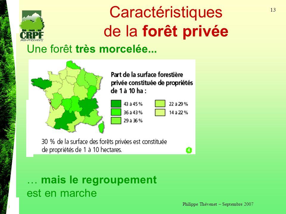Philippe Thévenet – Septembre 2007 13 Caractéristiques de la forêt privée Une forêt très morcelée...