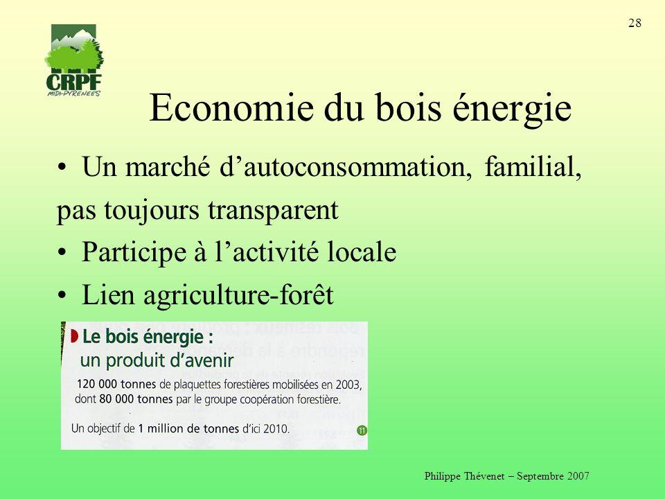 Philippe Thévenet – Septembre 2007 28 Economie du bois énergie Un marché dautoconsommation, familial, pas toujours transparent Participe à lactivité locale Lien agriculture-forêt