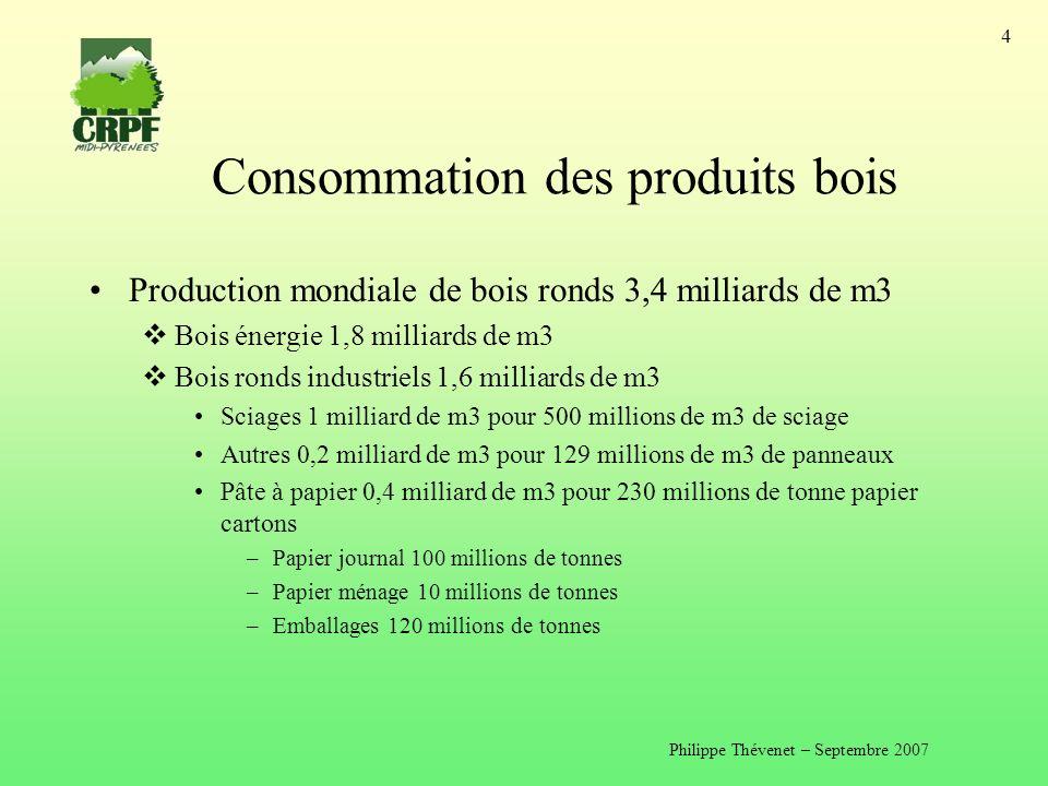 Philippe Thévenet – Septembre 2007 4 Consommation des produits bois Production mondiale de bois ronds 3,4 milliards de m3 Bois énergie 1,8 milliards de m3 Bois ronds industriels 1,6 milliards de m3 Sciages 1 milliard de m3 pour 500 millions de m3 de sciage Autres 0,2 milliard de m3 pour 129 millions de m3 de panneaux Pâte à papier 0,4 milliard de m3 pour 230 millions de tonne papier cartons –Papier journal 100 millions de tonnes –Papier ménage 10 millions de tonnes –Emballages 120 millions de tonnes