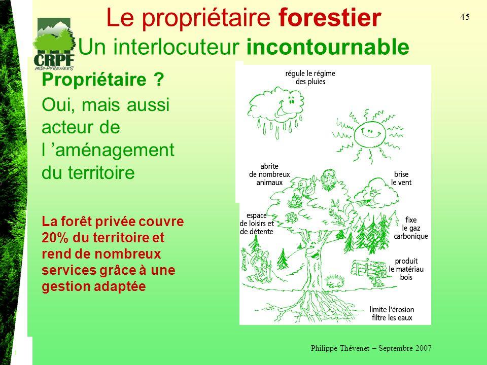 Philippe Thévenet – Septembre 2007 45 Le propriétaire forestier Un interlocuteur incontournable Propriétaire .