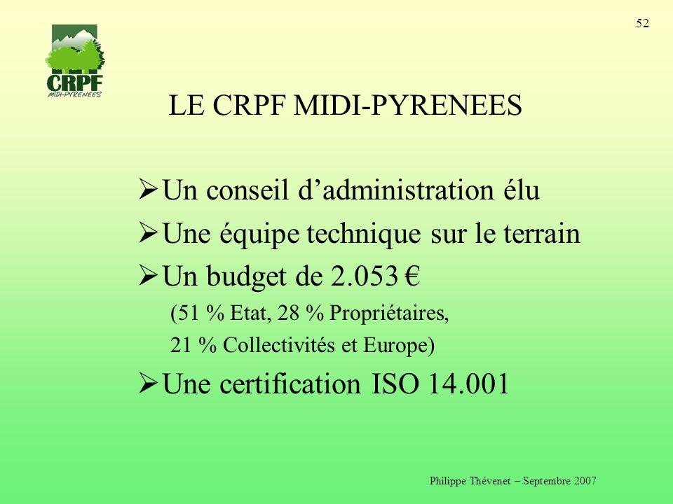 Philippe Thévenet – Septembre 2007 52 LE CRPF MIDI-PYRENEES Un conseil dadministration élu Une équipe technique sur le terrain Un budget de 2.053 (51 % Etat, 28 % Propriétaires, 21 % Collectivités et Europe) Une certification ISO 14.001