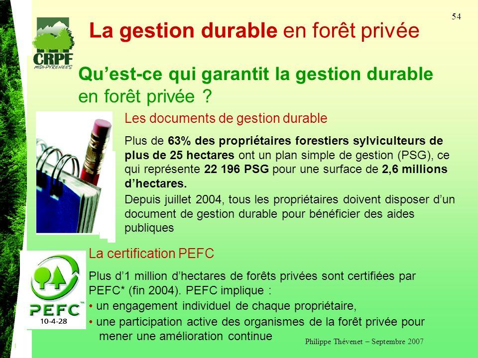 Philippe Thévenet – Septembre 2007 54 La gestion durable en forêt privée Quest-ce qui garantit la gestion durable en forêt privée .