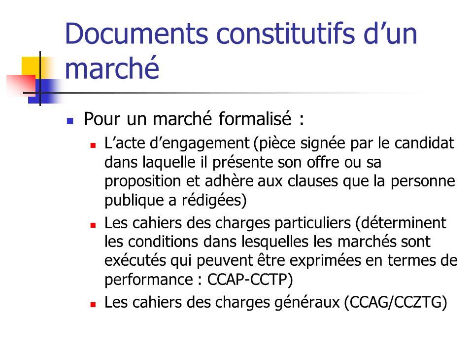 Documents constitutifs dun marché Pour un marché formalisé : Lacte dengagement (pièce signée par le candidat dans laquelle il présente son offre ou sa