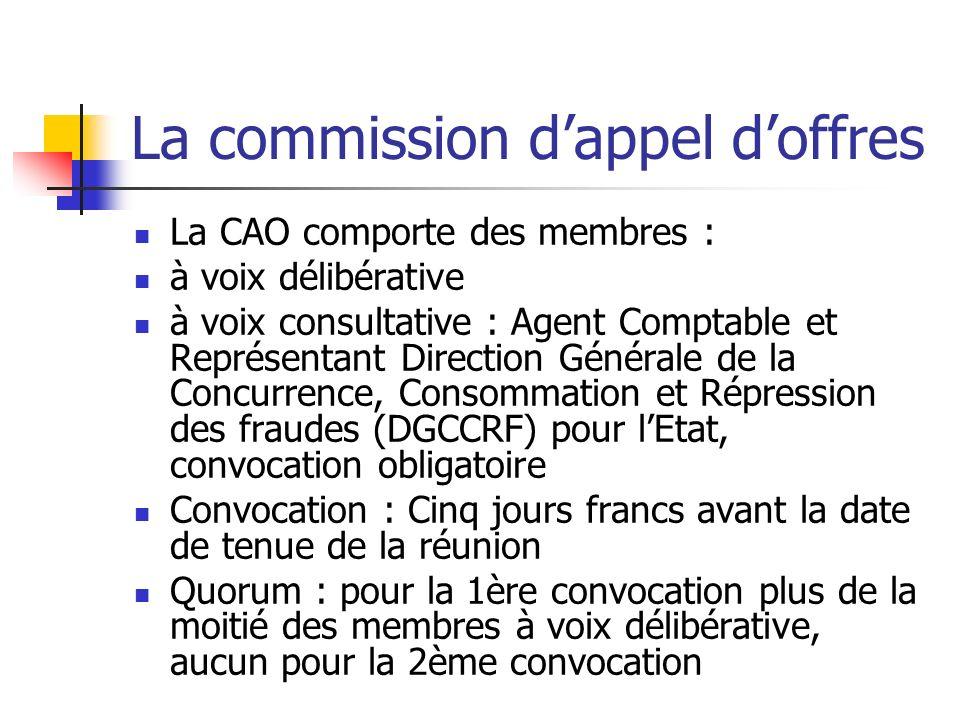 La commission dappel doffres La CAO comporte des membres : à voix délibérative à voix consultative : Agent Comptable et Représentant Direction Général