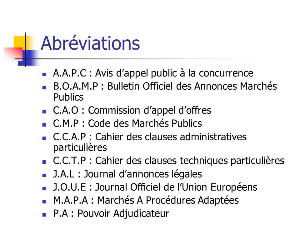 Abréviations A.A.P.C : Avis dappel public à la concurrence B.O.A.M.P : Bulletin Officiel des Annonces Marchés Publics C.A.O : Commission dappel doffre