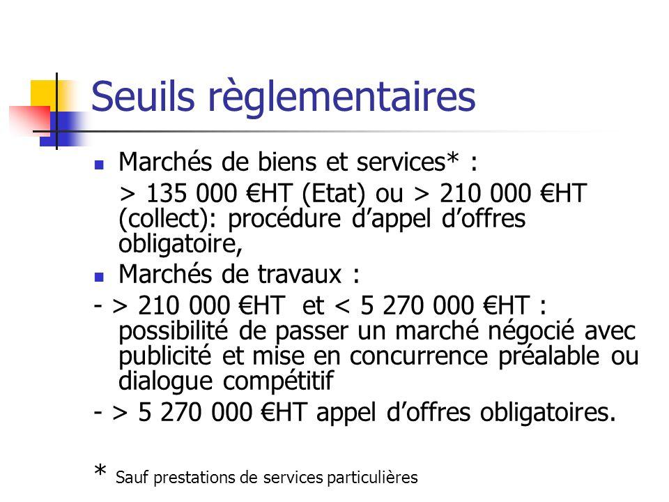 Seuils règlementaires Marchés de biens et services* : > 135 000 HT (Etat) ou > 210 000 HT (collect): procédure dappel doffres obligatoire, Marchés de