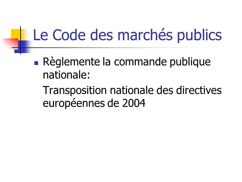 Le Code des marchés publics Règlemente la commande publique nationale: Transposition nationale des directives européennes de 2004