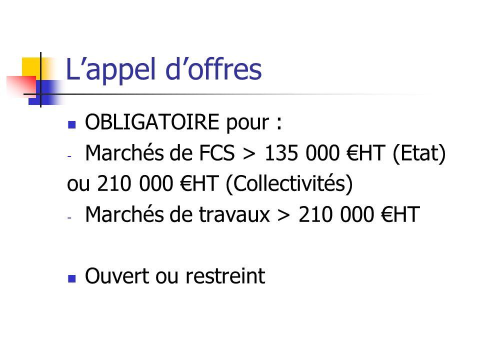 Lappel doffres OBLIGATOIRE pour : - Marchés de FCS > 135 000 HT (Etat) ou 210 000 HT (Collectivités) - Marchés de travaux > 210 000 HT Ouvert ou restr