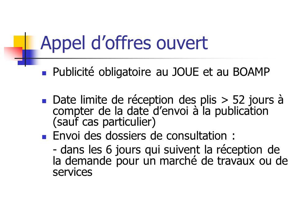 Appel doffres ouvert Publicité obligatoire au JOUE et au BOAMP Date limite de réception des plis > 52 jours à compter de la date denvoi à la publicati
