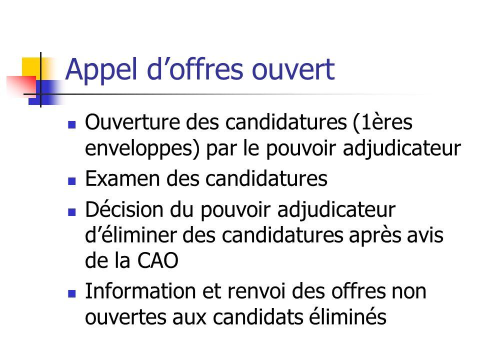 Appel doffres ouvert Ouverture des candidatures (1ères enveloppes) par le pouvoir adjudicateur Examen des candidatures Décision du pouvoir adjudicateu