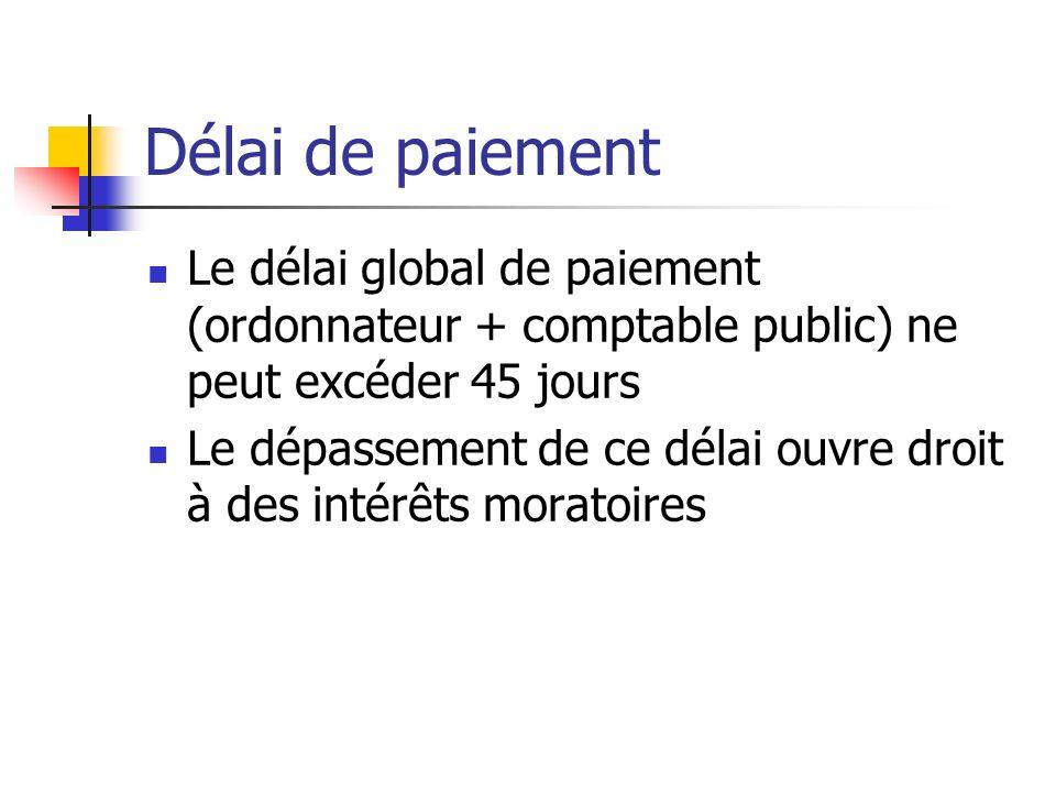 Délai de paiement Le délai global de paiement (ordonnateur + comptable public) ne peut excéder 45 jours Le dépassement de ce délai ouvre droit à des i
