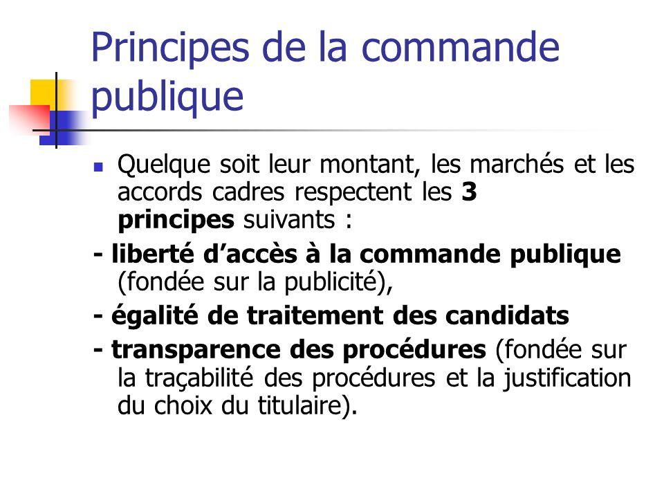 Principes de la commande publique Quelque soit leur montant, les marchés et les accords cadres respectent les 3 principes suivants : - liberté daccès